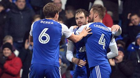 Brett Pitman celebrates after giving Ipswich all three points against Bristol City. Photo: PAGEPIX L