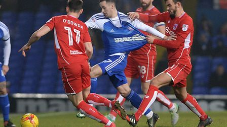 Bristol's Marlon Pack gets shirty with Tom Lawrence