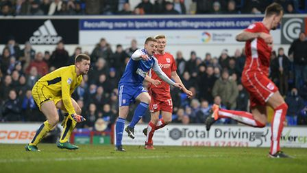 Freddie Sears watches as his second half shot is blocked on the line by Bristol City