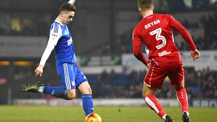 Tom Lawrence with a second half shot against Bristol City