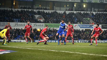 Kevin Bru scores during the first half against Bristol City