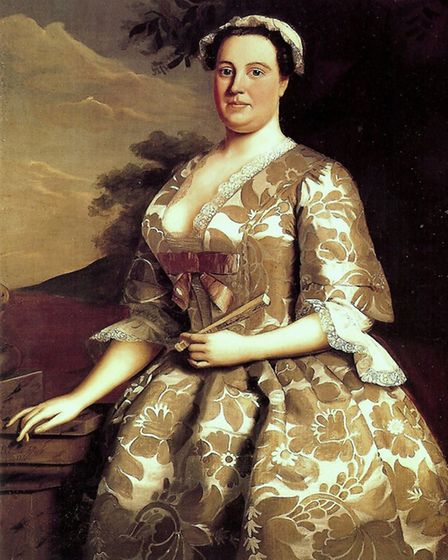 Mrs Charles Willing, of Philadelphia, painted by Robert Feke in 1746. She's wearing a gown of Englis