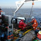 Marine investigative work being carried out for the Sizewell C project.