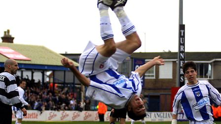 Scott McGleish celebrates a goal in his familiar acrobatic fashion, this one against QPR back in 200