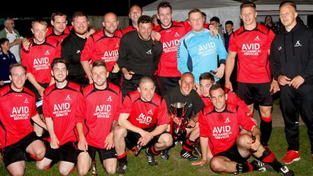 The winning Achilles squad that beat Haughley United 4-2 to win the Bob Coleman Cup last season