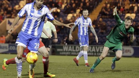 Kurtis Guthrie prepares to slot home one of his three goals in the U's last home outing, a 4-1 win o