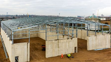 The new bulk warehouse under construction at the Port of Ipswich, part of Associated British Ports.
