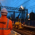 Network Rail engineers worked through the night to fix the overhead wires.