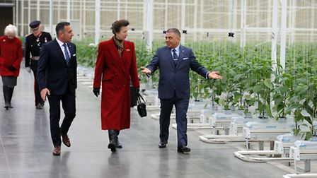 Jimmy Russo (right) and Vince Russo with the Princess Royal at Lea Valley Growers, Nazeing.
