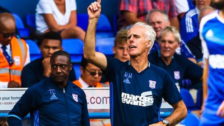 Town manager Mick McCarthy gives instruction from the touchline during the Ipswich Town v Preston No
