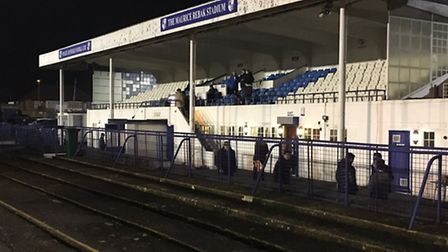 The main stand at Wingate & Finchley FC, before kick-off on Tuesday night
