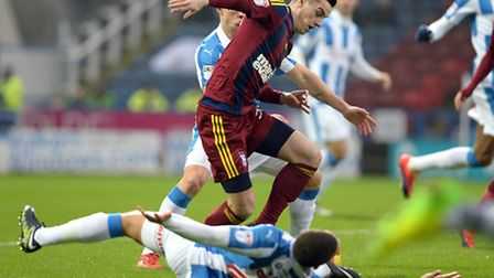 Tom Lawrence battles early on at Huddersfield