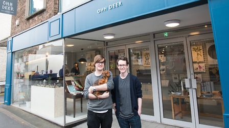 Ohh Deer is coming to Ipswich. Mark Callaby (left), Finley (the office pup) and Jamie Mitchell (ri