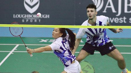 Sean Vendy and Fee Teng Liew in the mixed doubles for Suffolk Saxons against Loughborough Lightning