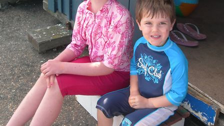 Two of Anna's children, Rachel and William, at the hut (picture taken eight years ago)