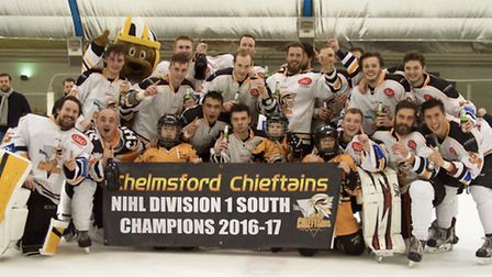 The Chelmsford Chieftains celebrate their fifth straight league title