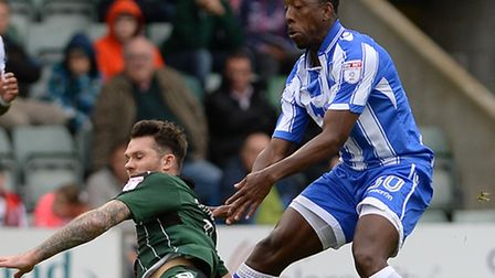 Lloyd Doyley on his U's debut at Plymouth, at the end of October. He is set to feature against Barne