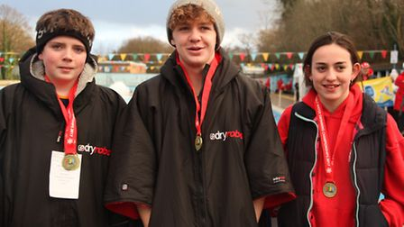 (L-R) Alfie Glendinning, Ollie Pick and Minnie Wayman at the UK Cold Water Swimming Championships