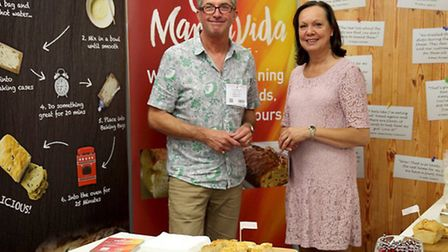 Dan Jennings and Davina Steel of MannaVida exhibiting at the Speciality and Fine Food Fair