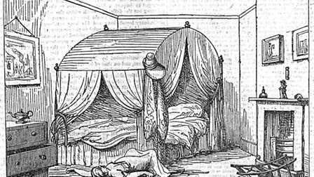 Eliza Grimwood's bedroom, with the body - from the Weekly Chronicle of June, 1838.