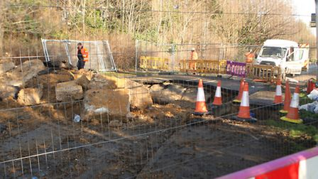 The sinkhole that sprung up in Newton Road, Sudbury, last month.