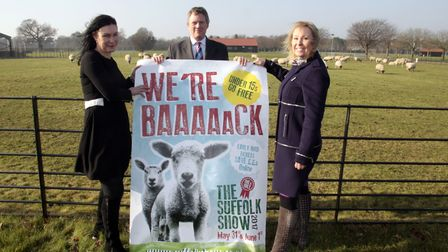 Bee Kemball, Suffolk Show director, with marketing manager Brigit Parker and Phillip Ainsworth, CEO.