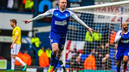 Freddie Sears wheels away after putting Town into a 1-0 lead in the Ipswich Town v Leeds United (Sky