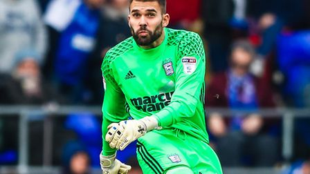 Bartosz Bialkowski takes a goal kick during the first half of the Ipswich Town v Leeds United (Sky B