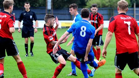 High-flying Brightlingsea Regent in action at Bury Town from earlier in the season. The R's entertai