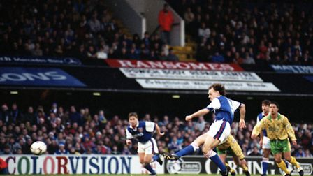 The first goal for Ipswich Town came from a John Wark penalty to bring the home side level against N