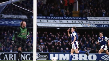 John Wark celebrating converting his penalty against local rivals Norwich City in December '93