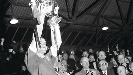 Mick Mills lifts the Texaco Cup in 1973