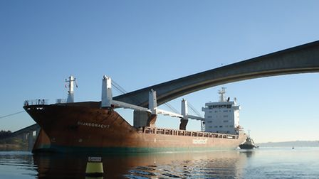 The Dijksgracht, the largest vessel ever to call at the Port of Ipswich, passing under the Orwell Br