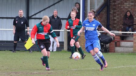 Lowestoft Town Ladies' captain Hannah Waters, who scored twice, take on a Bacton United Women's oppo