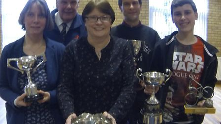 Some of the award winners at Mildenhall Cycling Club's Annual Lunch and Prize Presentations
