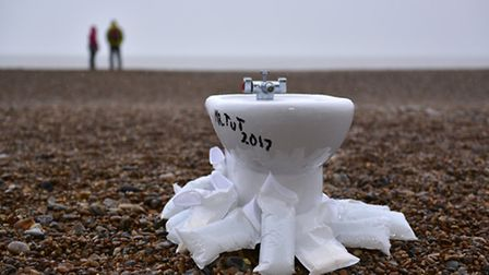 Peace War (Pissoir) on Aldeburgh beach is a tribute to Duchamp's 1917 urinal (Fountain) - voted the