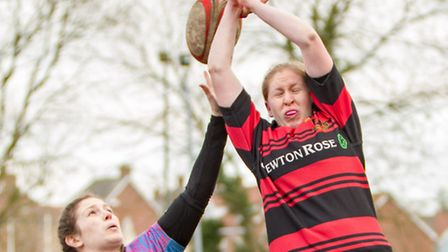 Rhian Claydon contests the line-out