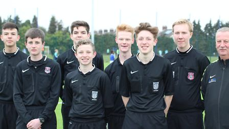 Academy referees on duty at Ipswich Town's Training Ground at Playford Road on Sunday, left to right