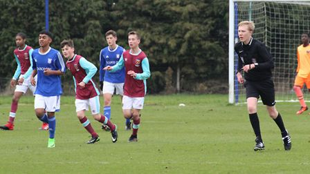 Archie Brydon refereeing Sunday's Under-15 Academy match between Ipswich Town and West Ham United at