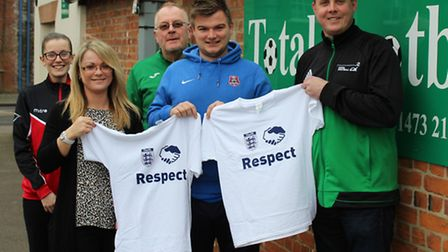 Suffolk FA Silent Weekend organiser Mike Phillips, second right, with Total Football Staff, left to
