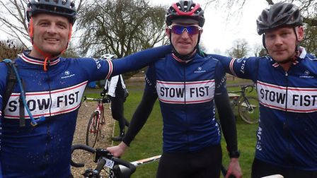 Andy Proffitt and friends at the finish of the Mille Maglia sportive