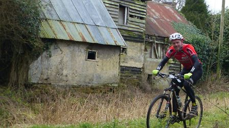 Action in the Mille Maglia off-road sportive - at Brockley, 15 kms to go.