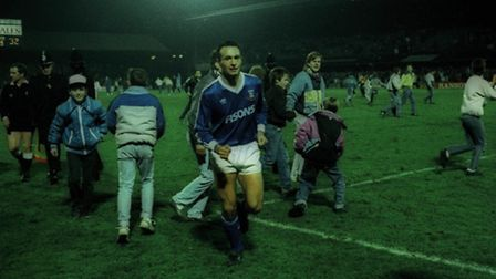 Simon Milton leaves the pitch after his winner against Norwich in December 1988.