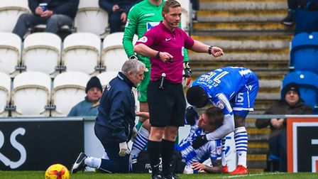 The moment that Frankie Kent sustains his ankle injury, after just six minutes of Saturday's 2-1 win