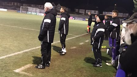 Leiston head coach Tony Kinsella, left, and manager Glenn Driver look on from the touch-line during