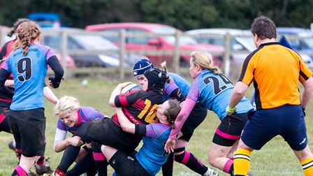 Claire Brickley thwarts a Wasps try
