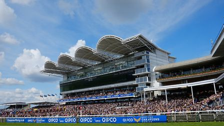 The Rowley Mile Millennium Grandstand and crowds at the QIPCO Guineas Festival 2016. Pic credit: New