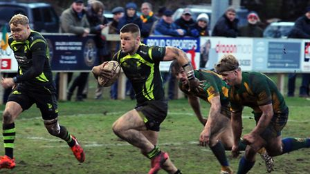 Bury St Edmunds entertain the Henley Hawks at the Haberden. Sam Sterling breaks through to score a