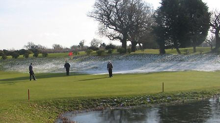 A wintry scene on the 11th green at Waldringfield.
