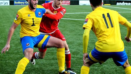 AFC Sudbury's James Baker and Dylan Williams